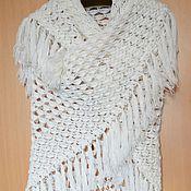 Аксессуары handmade. Livemaster - original item White shawl with fringe. Handmade.