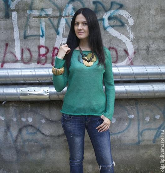 Кофты и свитера ручной работы. Ярмарка Мастеров - ручная работа. Купить Джемпер  цвета изумруд из тончайшего мохера. Handmade. кидмохер
