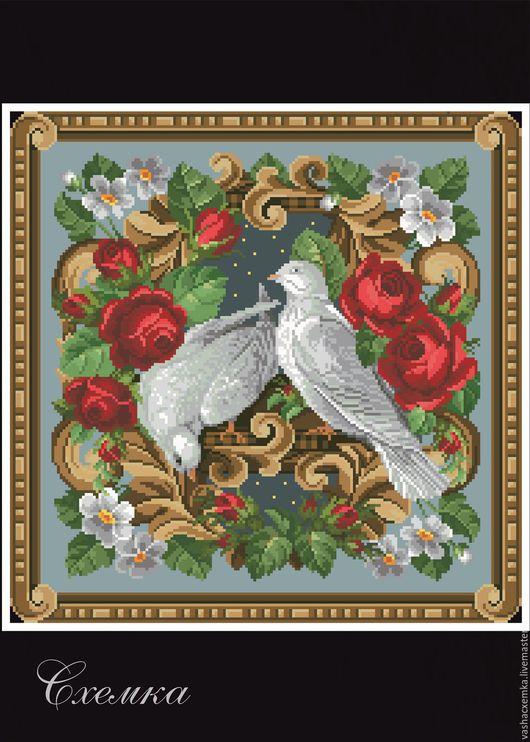 """Вышивка ручной работы. Ярмарка Мастеров - ручная работа. Купить Ретро схема """"Пара птиц"""".. Handmade. Комбинированный, схема для вышивки"""