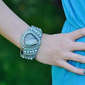 Украшения handmade. Livemaster - original item Beaded bracelet labradorite Soft mint turquoise massive bracelet. Handmade.