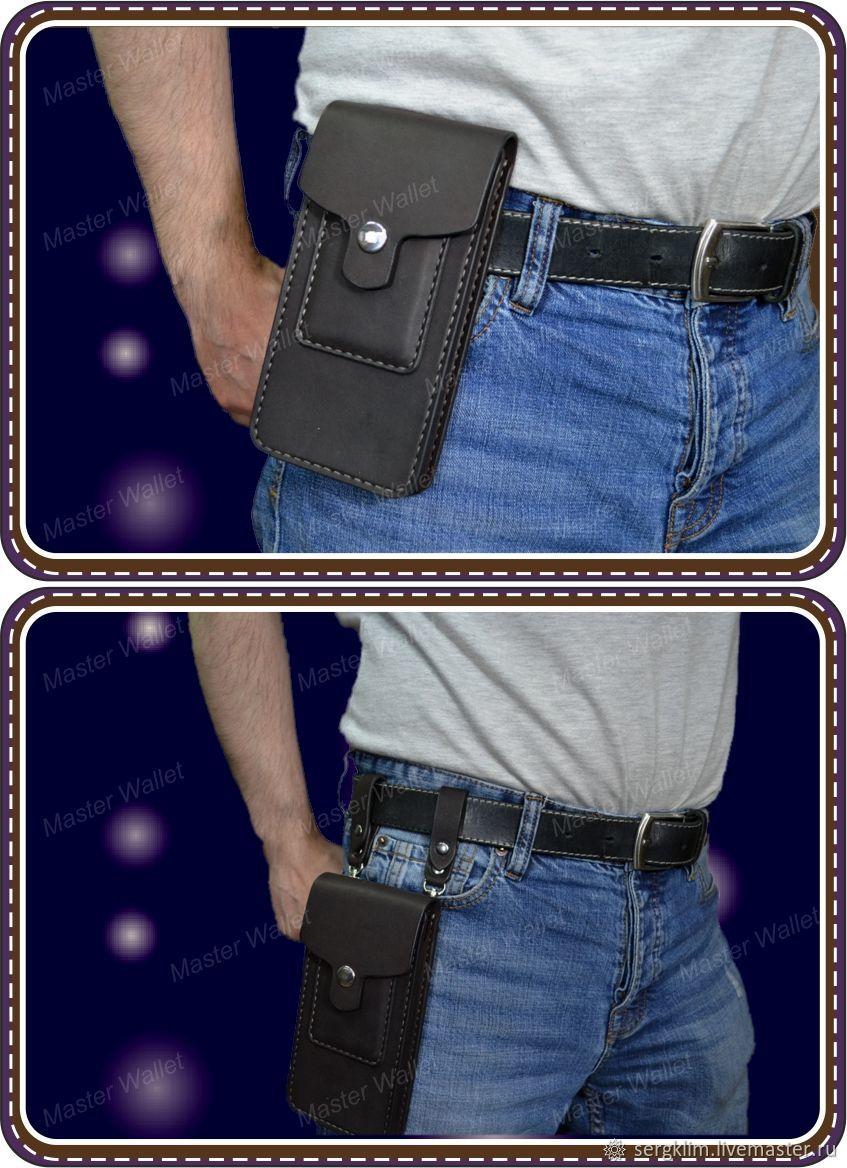 Чехол для телефона из шорно седельной кожи с кармашком для кредиток, Классическая сумка, Уфа,  Фото №1