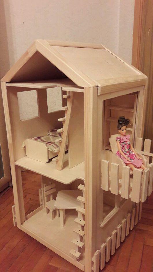 Кукольный дом ручной работы. Ярмарка Мастеров - ручная работа. Купить Деревянный домик для барби с балконом. Handmade. Домик