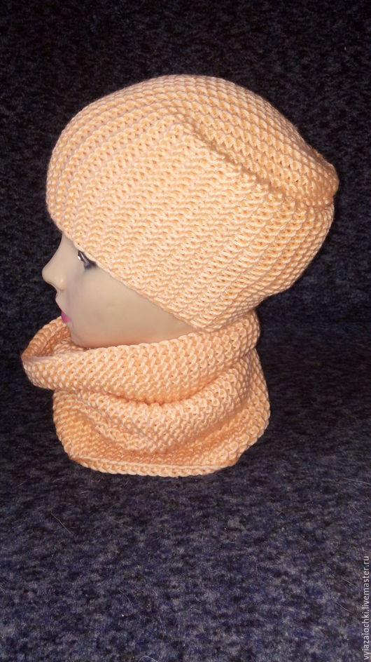 Шарфы и шарфики ручной работы. Ярмарка Мастеров - ручная работа. Купить комплект шапка бини и снуд. Handmade. Комбинированный, комплект