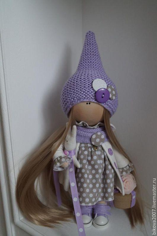 Куклы тыквоголовки ручной работы. Ярмарка Мастеров - ручная работа. Купить Горошинка -2. Handmade. Сиреневый, хлопок 100%