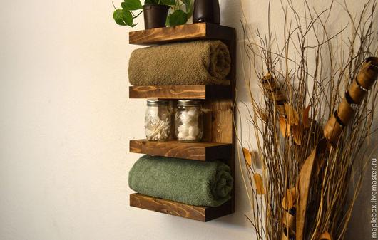 Мебель ручной работы. Ярмарка Мастеров - ручная работа. Купить Полка для ванной комнаты. Handmade. Коричневый, для полотенца
