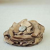 Украшения handmade. Livemaster - original item Fabric flower, brooch Old gold.. Handmade.