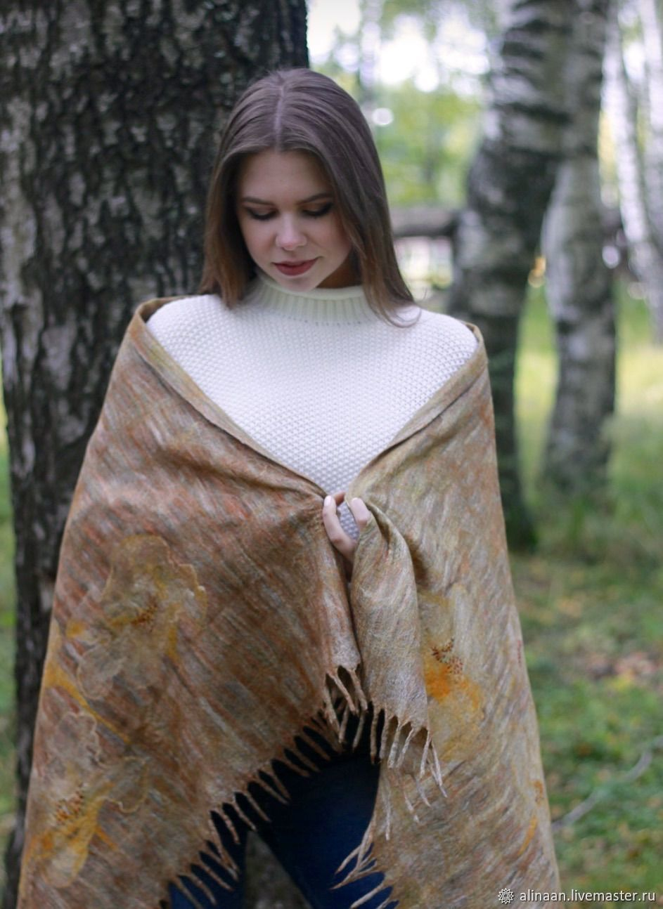 'Autumn waltz' tippet felted, Wraps, Moscow,  Фото №1