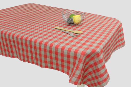Текстиль, ковры ручной работы. Ярмарка Мастеров - ручная работа. Купить Скатерть льняная на стол в клетку.. Handmade. Ярко-красный