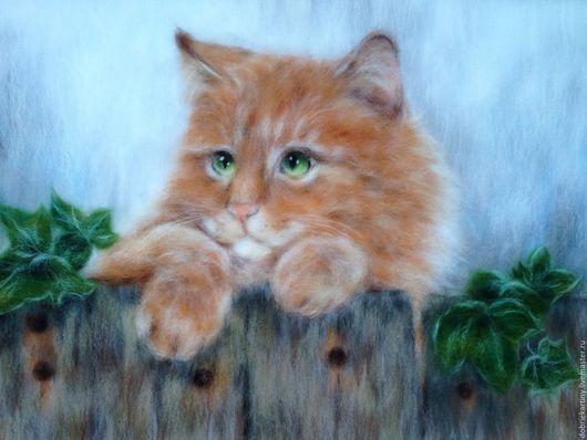 """Животные ручной работы. Ярмарка Мастеров - ручная работа. Купить """"Рыжий Кот"""". Handmade. Рыжий, кошка, живопись шерстью"""