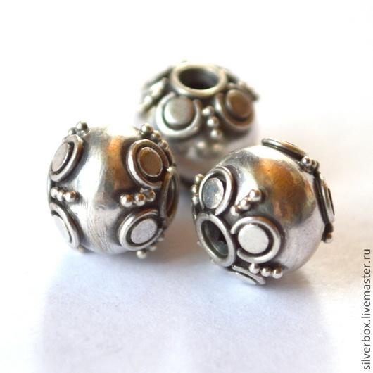 Два Цвета Бусина Бали Серебряный поросёнок Серебро 925 Позолота 24 k Для украшений от Нины(SilverBox)