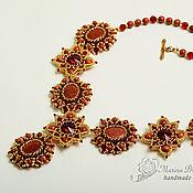 Украшения handmade. Livemaster - original item Necklace and earrings beaded with aventurine, Autumn kiss red Golden. Handmade.
