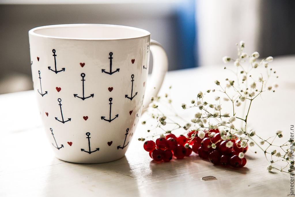 A girlfriend of a sailor. Mug handmade ceramics, Mugs, Zhukovsky,  Фото №1