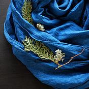Аксессуары handmade. Livemaster - original item Linen scarf-Midnight Indigo. Handmade.