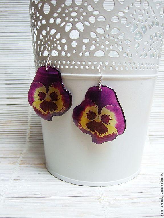 Transparent Earrings Pansy No. №2 Flowers Boho Jewelry Epoxy, Earrings, Taganrog,  Фото №1