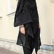 R00028 Кардиган черный из льна без рукавов, стильный жилет льняной. Городской стиль для повседневной жизнисвободный стиль