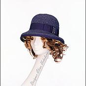 Аксессуары handmade. Livemaster - original item Hat raffia. Summer hat with brim. Blue hat.. Handmade.