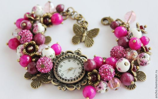 """Часы ручной работы. Ярмарка Мастеров - ручная работа. Купить Часы """"Розовый в бронзе"""". Handmade. Фуксия, часы браслет"""