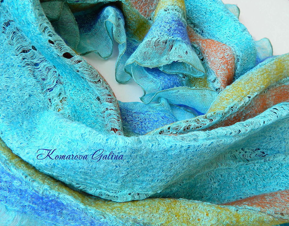 felted scarf Turquoise, Scarves, Moscow,  Фото №1