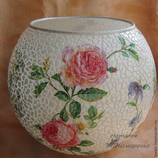 Вазы ручной работы. Ярмарка Мастеров - ручная работа. Купить Вазы ручной работы. Стеклянная ваза  Розовый сад. Handmade.