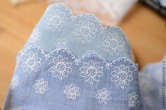 Шитье ручной работы. Ярмарка Мастеров - ручная работа. Купить Кружево шитье хлопок  6 см - джинс. Handmade. Синий