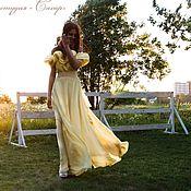 """Платья ручной работы. Ярмарка Мастеров - ручная работа """"Мелодия""""длинное платье в пол лимонного цвета с воланами из шифона. Handmade."""