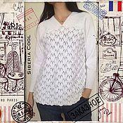 Одежда handmade. Livemaster - original item Sweater female white petals, knitted, openwork, cotton. Handmade.