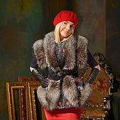 Русский стиль handmade. Livemaster - original item Fur - printovaya vest with fox fur GN000 / 71. Handmade.