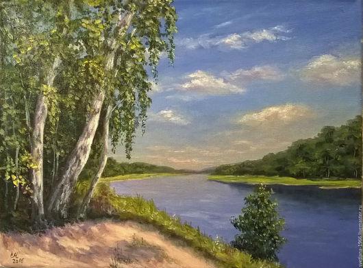 Пейзаж ручной работы. Ярмарка Мастеров - ручная работа. Купить Летний полдень. Handmade. Зеленый, солнце, река, облака