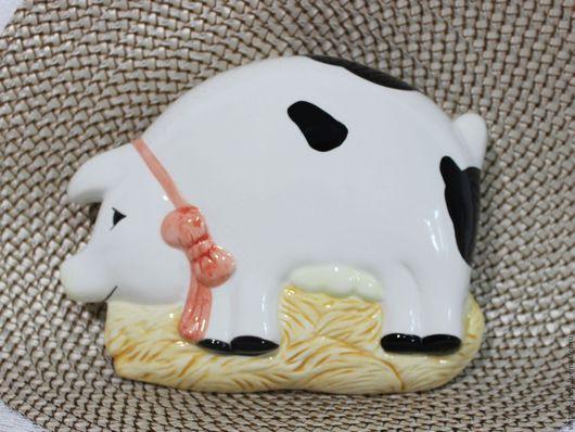 """Винтажные предметы интерьера. Ярмарка Мастеров - ручная работа. Купить Фарфоровое настенное панно """"Свинюшка"""", 70-е года. Handmade."""