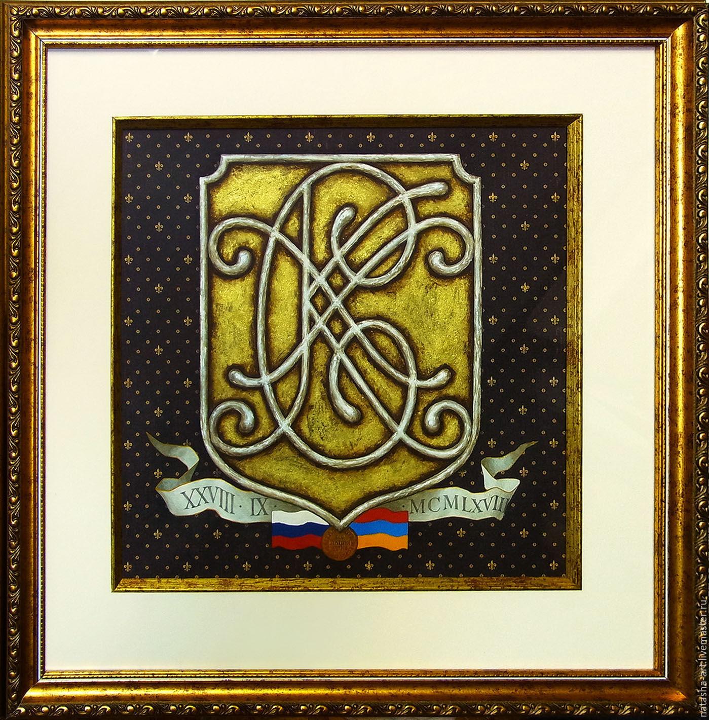 Мужские монограммы в гербовом картуше, Картины, Одинцово,  Фото №1