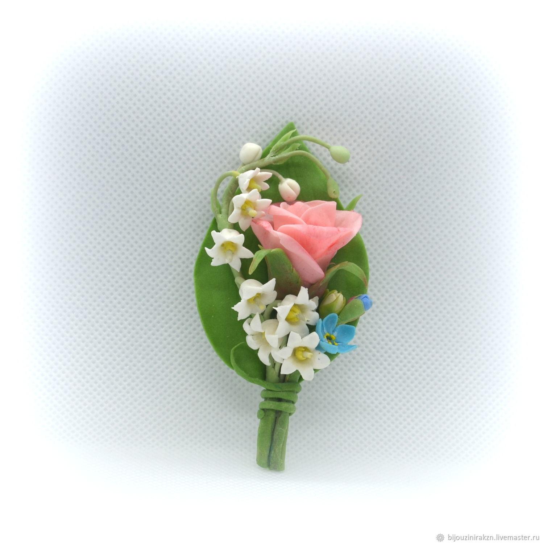 Свадебные украшения ручной работы. Ярмарка Мастеров - ручная работа. Купить Брошь, бутоньерка с цветами - розовая роза, ландыши, незабудки. Handmade.