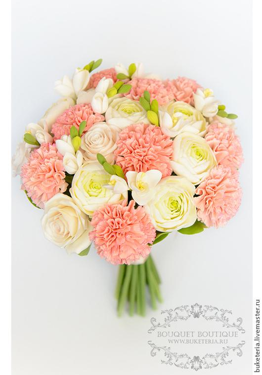 Свадебные цветы ручной работы. Ярмарка Мастеров - ручная работа. Купить Свадебный букет невесты с гвоздикой из полимерной глины. Handmade.