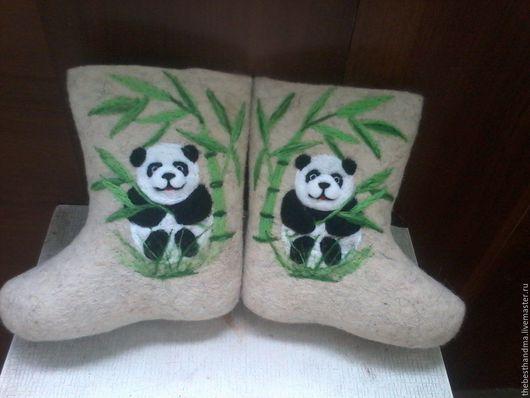 """Обувь ручной работы. Ярмарка Мастеров - ручная работа. Купить Валенки Детские """" Панда"""". Handmade. Белый, валенки для улицы"""