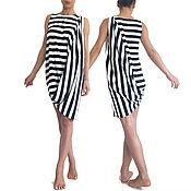 Одежда handmade. Livemaster - original item POSH striped asymmetric tunic dress sleeveless draped. Handmade.