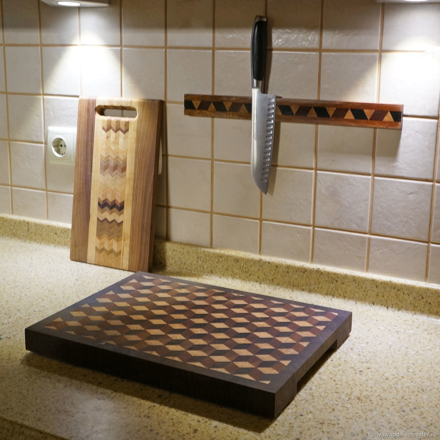 Magnetic holder for knives can be made in conjunction with your kitchen, blackboard or other. Just email me if interested in a custom order.