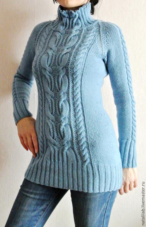 """Кофты и свитера ручной работы. Ярмарка Мастеров - ручная работа. Купить Свитер """"Джули"""". Handmade. Голубой, женский, удлиненный, красивый"""