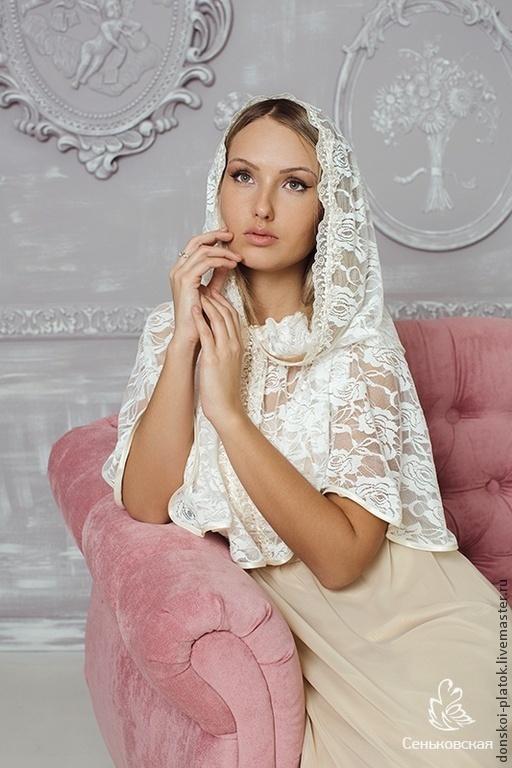 """Шали, палантины ручной работы. Ярмарка Мастеров - ручная работа. Купить """"Елизавета"""". Handmade. Бежевый, подарок для женщины, платок в церковь"""
