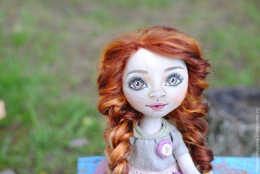 Коллекционные куклы ручной работы. Ярмарка Мастеров - ручная работа. Купить Девочка с котом Тишкой. Handmade. Бледно-сиреневый