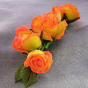 Украшения ручной работы. Ярмарка Мастеров - ручная работа ...Золотой нектар... заколка с розами, термопластика. Handmade.