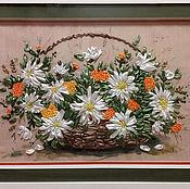 Картины и панно ручной работы. Ярмарка Мастеров - ручная работа Корзина с ромашками. Handmade.