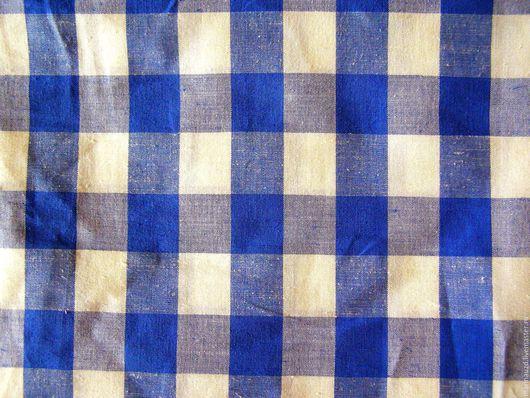 Текстиль, ковры ручной работы. Ярмарка Мастеров - ручная работа. Купить Шторы на кухню , дачу льняные в клетку сине белую. Handmade.