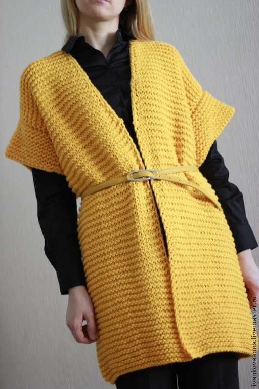 Кофты и свитера ручной работы. Ярмарка Мастеров - ручная работа. Купить Схема вязание кардигана из объемной пряжи. Handmade. Желтый