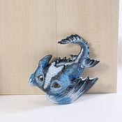 Украшения ручной работы. Ярмарка Мастеров - ручная работа Брошь голубой дракон. Handmade.