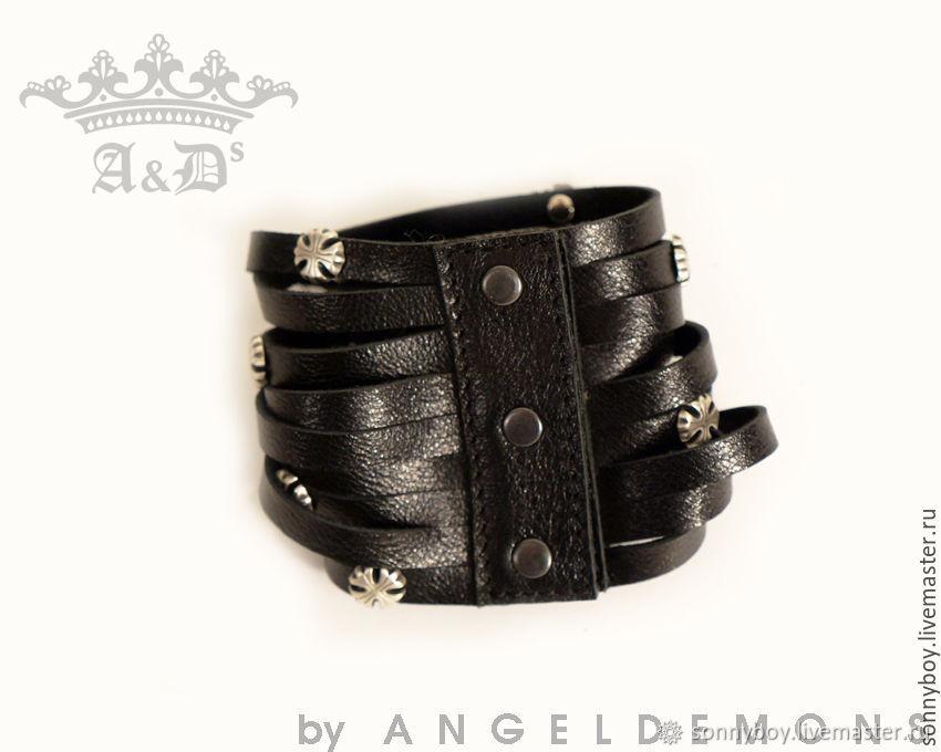 Браслет из кожи - Bracelet Black Silver Lily