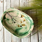 Для дома и интерьера ручной работы. Ярмарка Мастеров - ручная работа Мыльница керамическая зеленая. Handmade.
