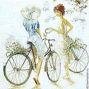 Картины и панно ручной работы. Ярмарка Мастеров - ручная работа картина Велосипедистки, вышивка крестом. Handmade.