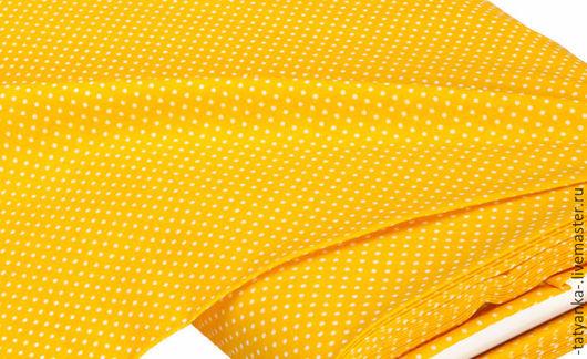 Ткань немецкий хлопок `Горох` 2 мм (желтая)