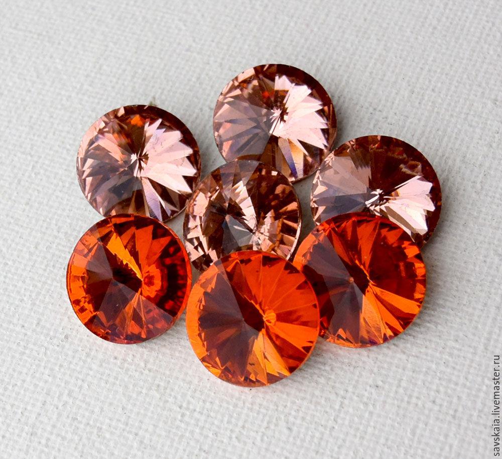 Риволи хрустальные кристаллы Размер18 мм Цвет гиацинт оранжевый, персиковый