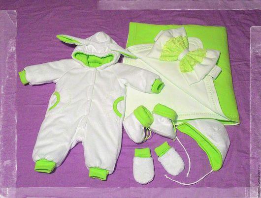 Для новорожденных, ручной работы. Ярмарка Мастеров - ручная работа. Купить Зимний Комплект на выписку. Handmade. Комбинированный, одеяло для новорожденного