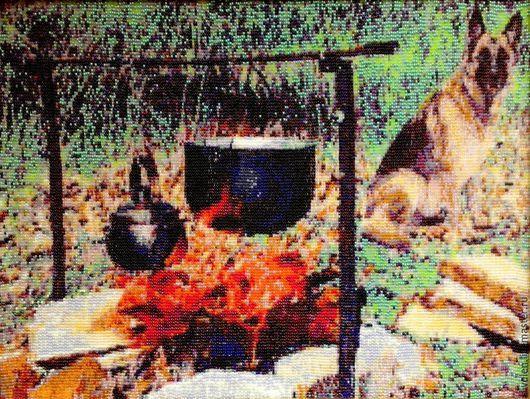 Пейзаж ручной работы. Ярмарка Мастеров - ручная работа. Купить Гобелен из бисера МАЙСКИЙ-ПОХОДНЫЙ. Handmade. Разноцветный, алый цвет